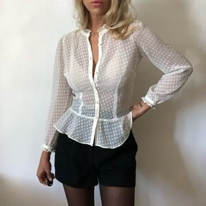 {LOFT} sheer polka dot blouse